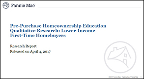Pre-Purchase Homeownership Education Qualitative Research: Lower-Income First-Time Homebuyers