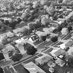 Overhead shot of a suburban neighborhood