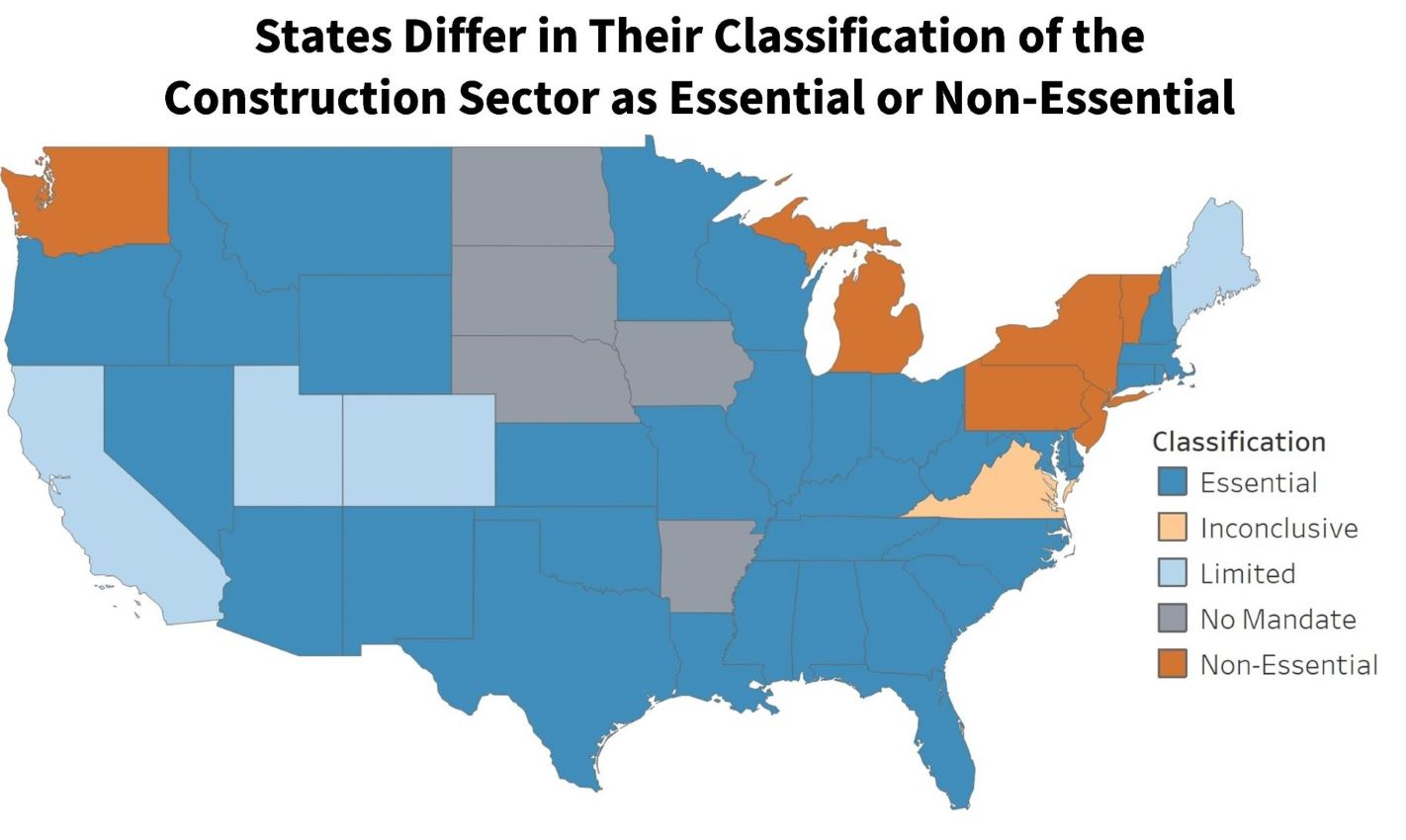 States Differ in Their Classification of the Construction Sector as Essential or Non-Essential
